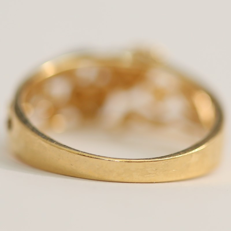 Unique Dual Hearts and Vine 14K Yellow Gold Ring Size 7