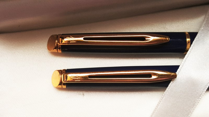 Waterman Hemisphere Essential Gold Tone & Blue Pen & Mechanic Pencil