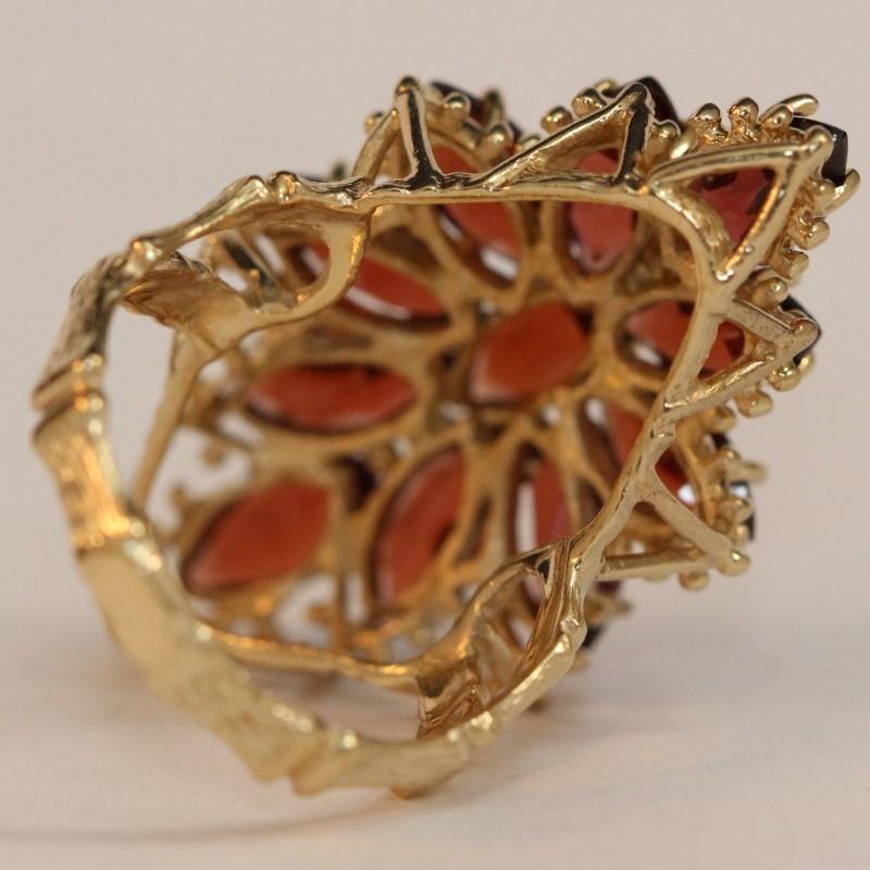10K Yellow Gold Marquise Cut Cluster Almandite Garnet Ring Size 6.5