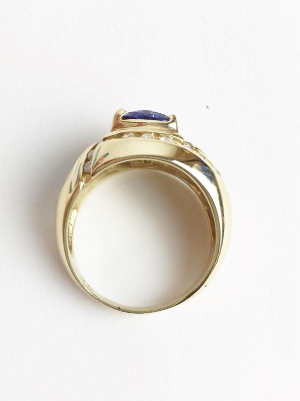 Opal Tanzanite & Diamond Ring 29 Diamonds .58 Carat T.W. 14K Yellow Gold
