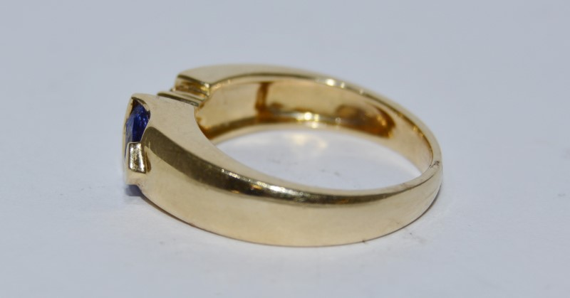 14k Yellow Gold Trillion Tanzanite, Austrailian Opal, & Diamond Ring