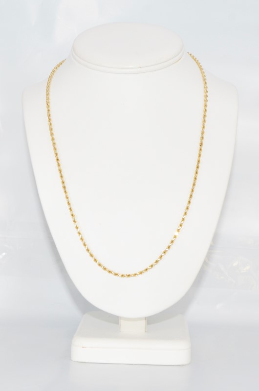 "20"" 14K Yellow Gold Rope Chain Necklace"