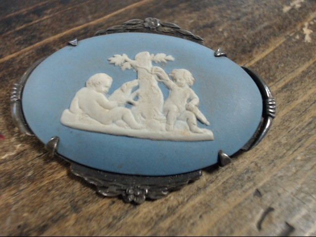 Blue Stone Silver-Stone Brooch 925 Silver 13.9g