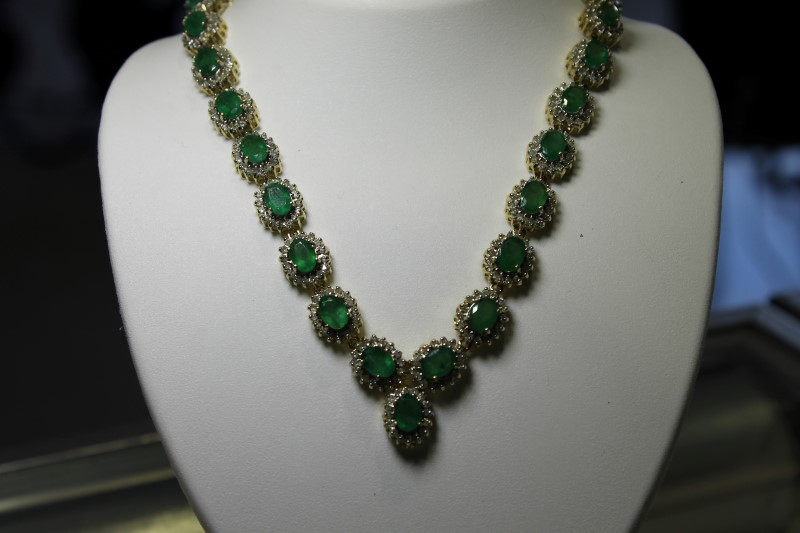 "18"" 20.01 CTTW Genuine Emerald & Diamond 14K YG Necklace"
