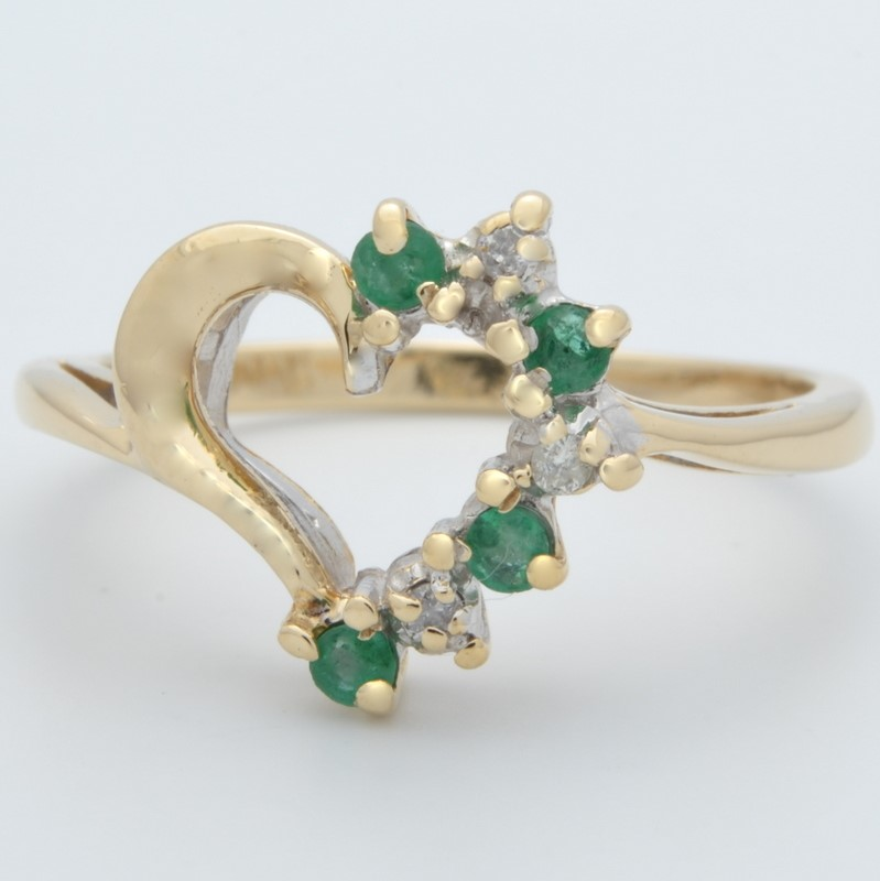 ESTATE DIAMOND EMERALD GREEN HEART RING SOLID 10K GOLD PROMISE SZ 6