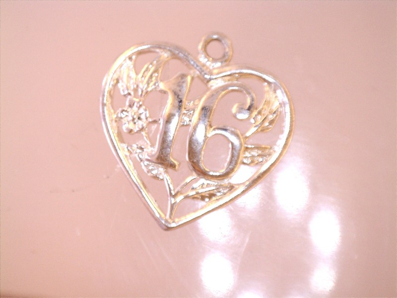 "SWEET 16 FLORAL HEART CHARM, APPX 5/8"" WIDE AND 5/8"" TOP TO BOTTOM"