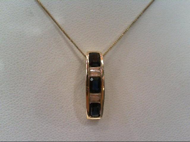 Sapphire Gold-Diamond & Stone Pendant 4 Diamonds .28 Carat T.W. 14K Yellow Gold