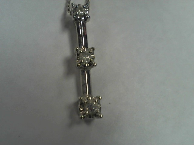 Diamond Necklace 3 Diamonds .30 Carat T.W. 10K White Gold 2.5g