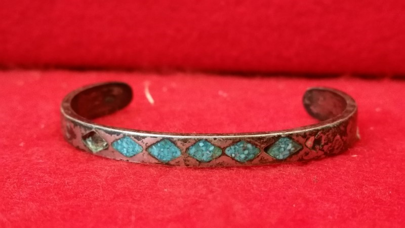 Silver Bracelet 925 Silver 17.5g Native American Indian Turquoise