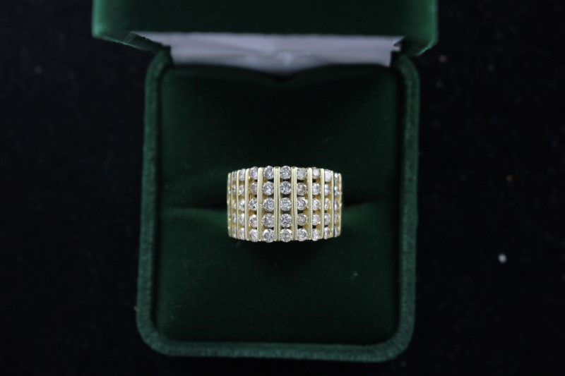 Lady's Diamond Fashion Ring 50 Diamonds 2.00 Carat T.W. 14K Yellow Gold 4.6dwt