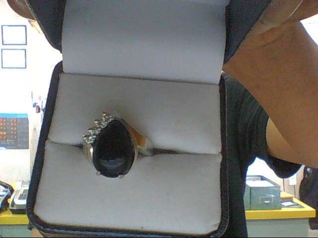 Black Stone Lady's Stone & Diamond Ring 4 Diamonds .08 Carat T.W.