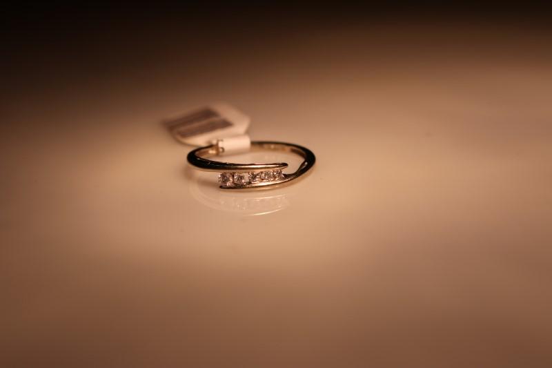 Lady's Diamond Fashion Ring 5 Diamonds .11 Carat T.W. 10K White Gold 1.24g