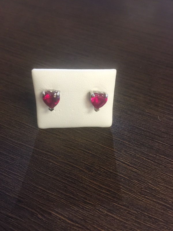 Red Stone Gold-Stone Earrings 14K White Gold 1.5g
