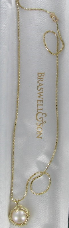 Synthetic Pearl Diamond & Stone Necklace 3 Diamonds .03 Carat T.W.