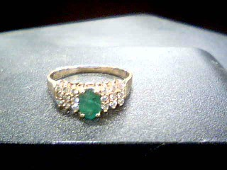 Green Stone Lady's Stone & Diamond Ring 18 Diamonds .18 Carat T.W.