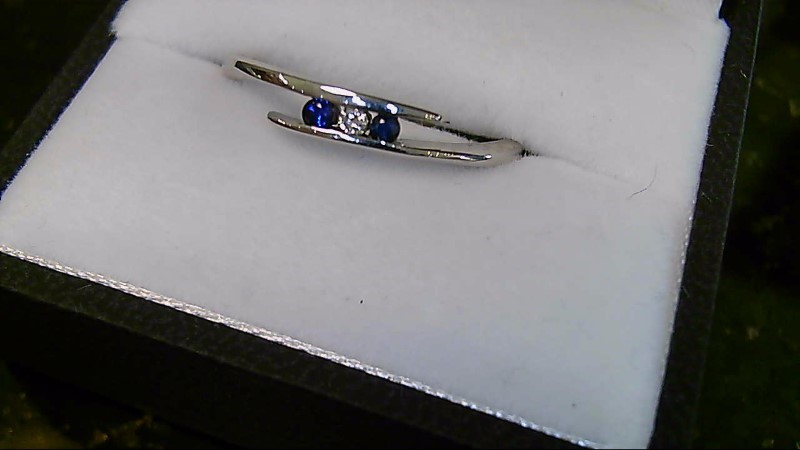 September Birthday Lady's Sapphire and Diamond Bypass 14K White Gold Ring