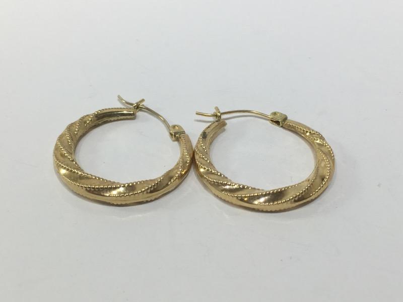 Gold Earrings 14K Yellow Gold 1.2g