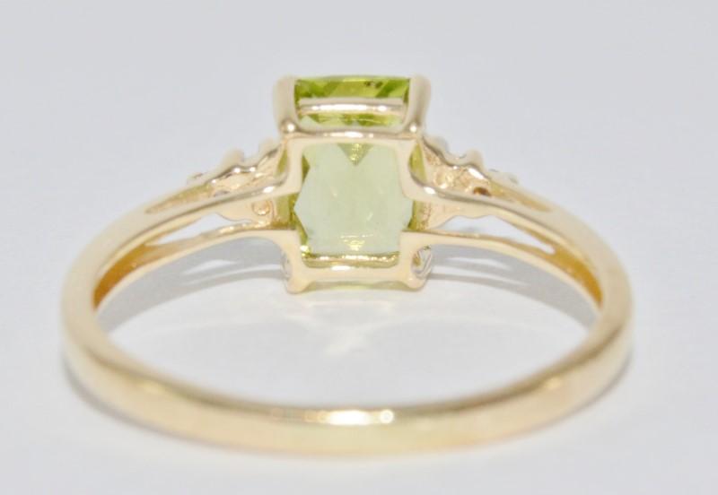 14K Yellow Gold Basket Set Cathedral Radiant Peridot & Diamond Ring Size 6