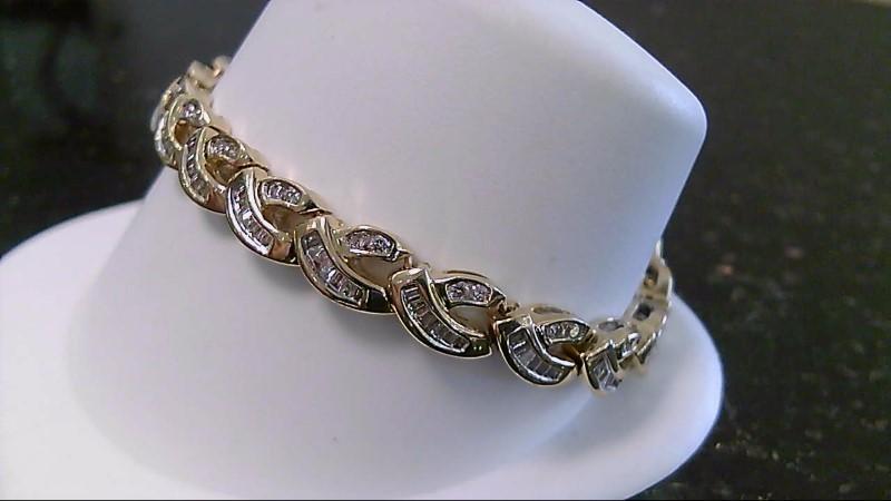 "7"" Gold Diamond Bracelet 190 Diamonds 2.70 CTTW 14K Yellow Gold 25.8g"