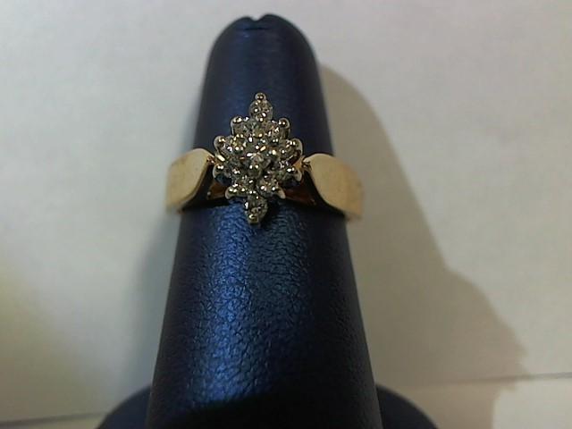 Lady's Diamond Fashion Ring 11 Diamonds .17 Carat T.W. 14K Yellow Gold 5g