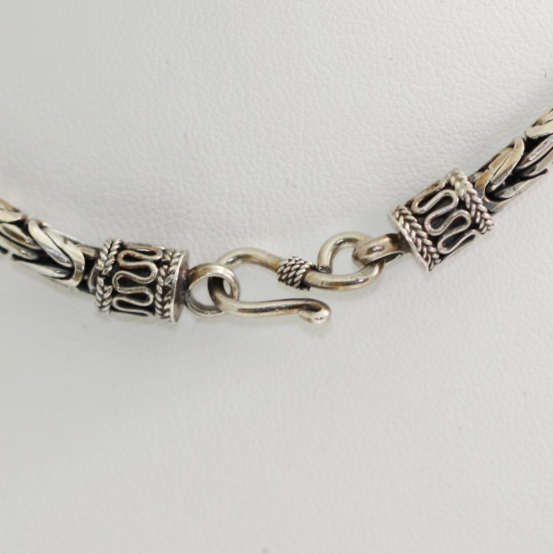 """16"""" Sterling Silver HEAVY Byzantine Link Chain Necklace Hook Closure"""