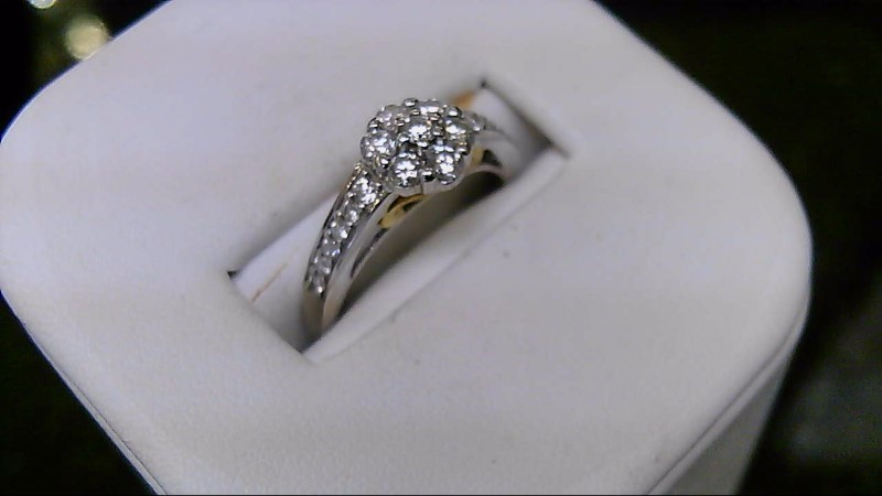 Lady's Diamond Engagement Ring 19 Diamonds .61 Carat T.W. 14K 2 Tone Gold 4g