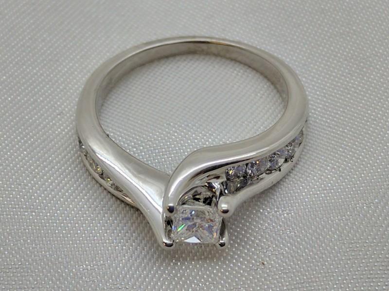 Lady's Diamond Engagement Ring 11 Diamonds .77 Carat T.W. 14K White Gold 3.7g