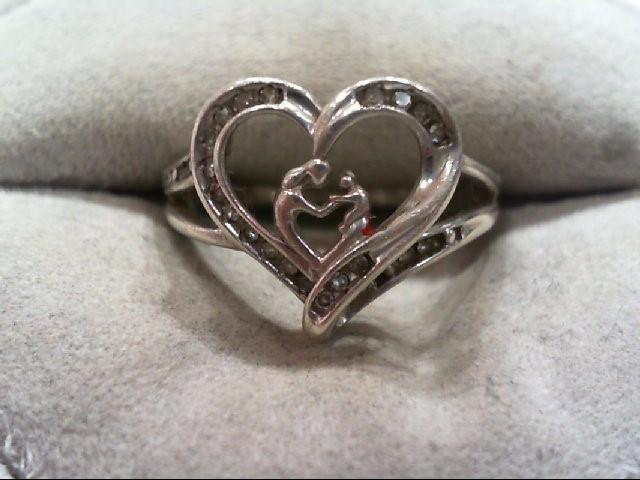 Lady's Silver-Diamond Ring 21 Diamonds .21 Carat T.W. 925 Silver 2.8g