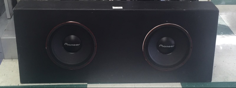 "PIONEER SUBWOOFER BOX W/ 2X12"" SPEAKER IN BOX"