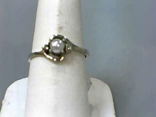 Pearl Lady's Stone & Diamond Ring 2 Diamonds .02 Carat T.W. 10K White Gold