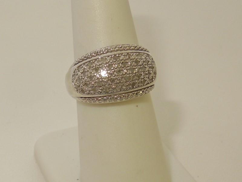 Lady's Silver-Diamond Ring 36 Diamonds .36 Carat T.W. 925 Silver 6.2g Size:6