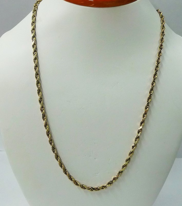 "20"" Gold Rope Chain 10K Yellow Gold 12.5dwt"