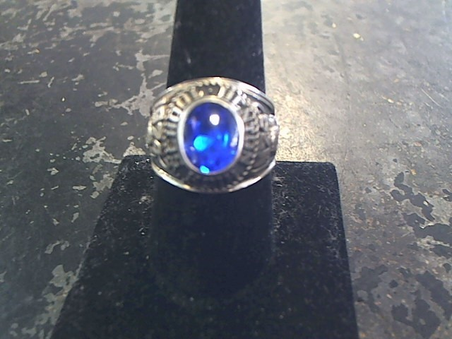 Blue Stone Gent's Stone Ring 10K White Gold 10.4dwt