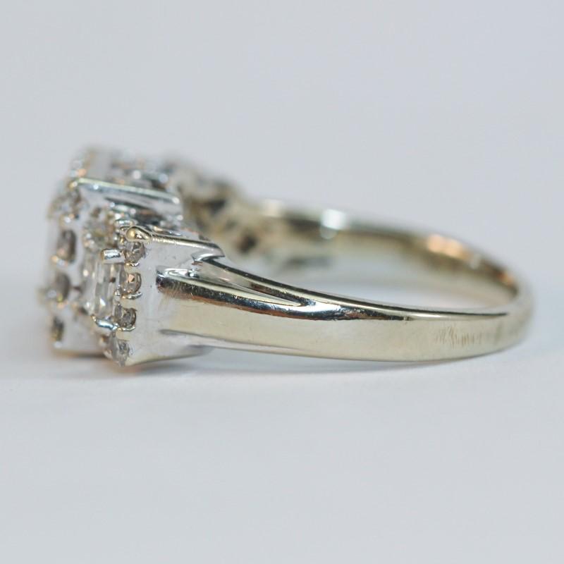Vintage Inspired Basket 14K W/G 3 Princess Diamond Ring Size 5.5