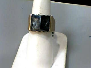 Synthetic Hematite Gent's Stone Ring 10K Yellow Gold 4.2dwt Size:7.5