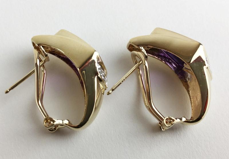 14K AMETHYST & DIAMOND EARRINGS APX .16CTW 7.08G