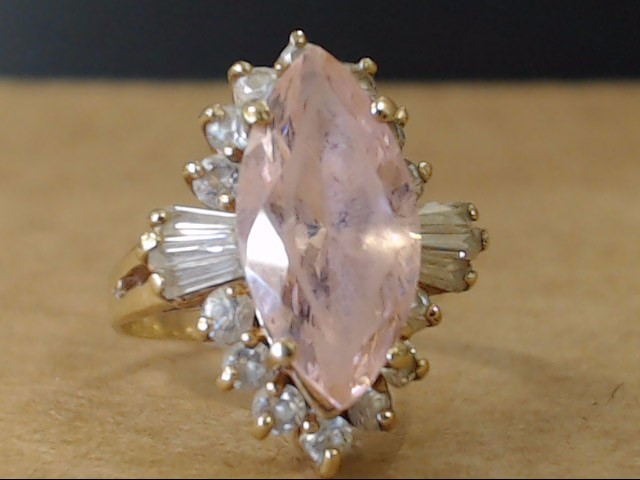 ESTATE MARQUISE PINK ICE STONE CZ RING SOLID REAL 10K GOLD SIZE 5