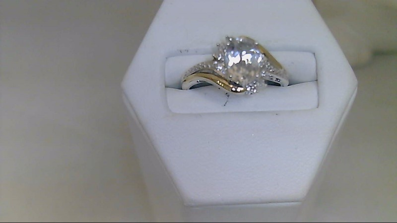 White Stone Lady's Silver & Stone Ring 925 Silver 2.8g