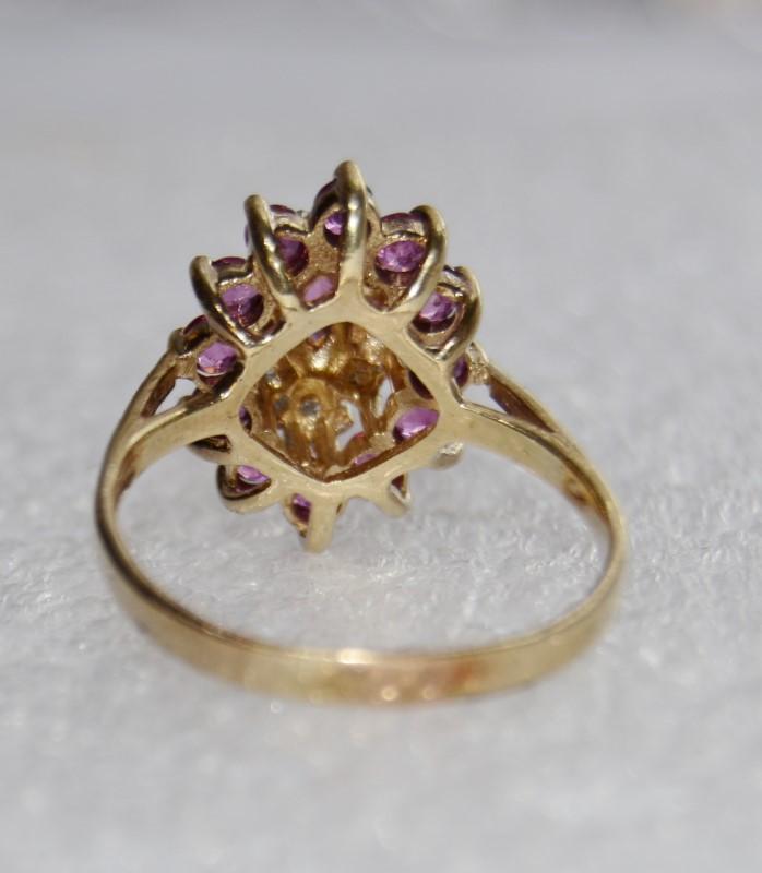 10k Yellow Gold Pink Tourmaline & Diamond Cluster Ring Size 8
