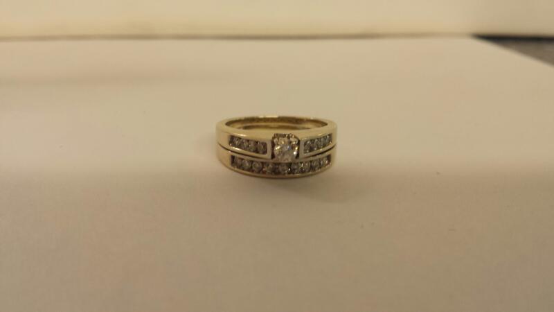 Lds 14K-W/G 18 Diamond Wedding Set