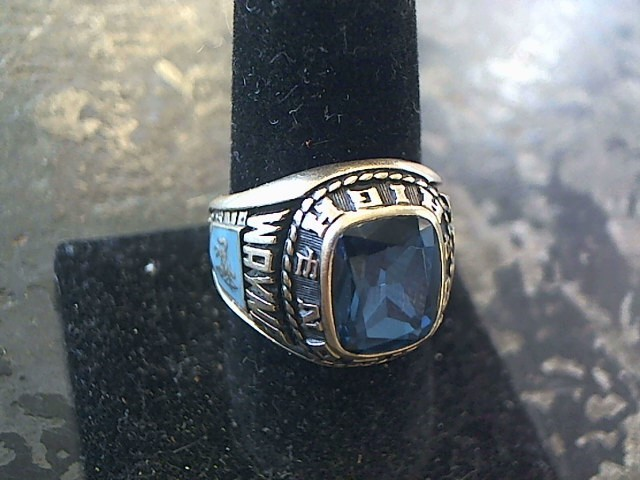Blue Stone Gent's Stone Ring 10K Yellow Gold 10.01dwt Size:10.5