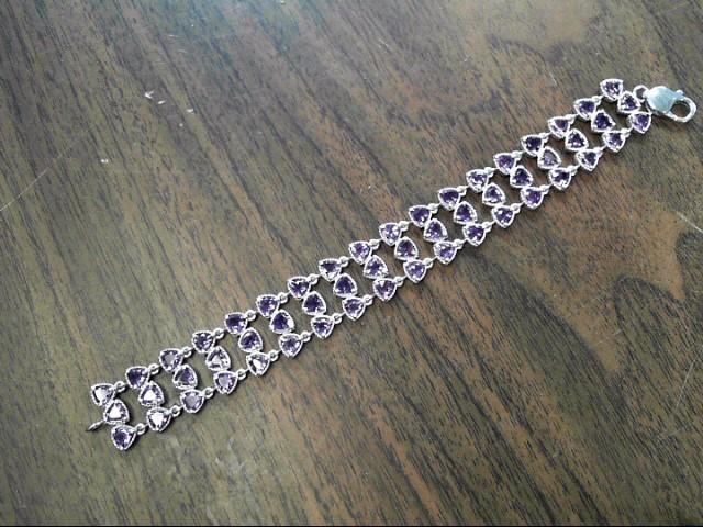 Purple Stone Silver-Stone Bracelet 925 Silver 23dwt