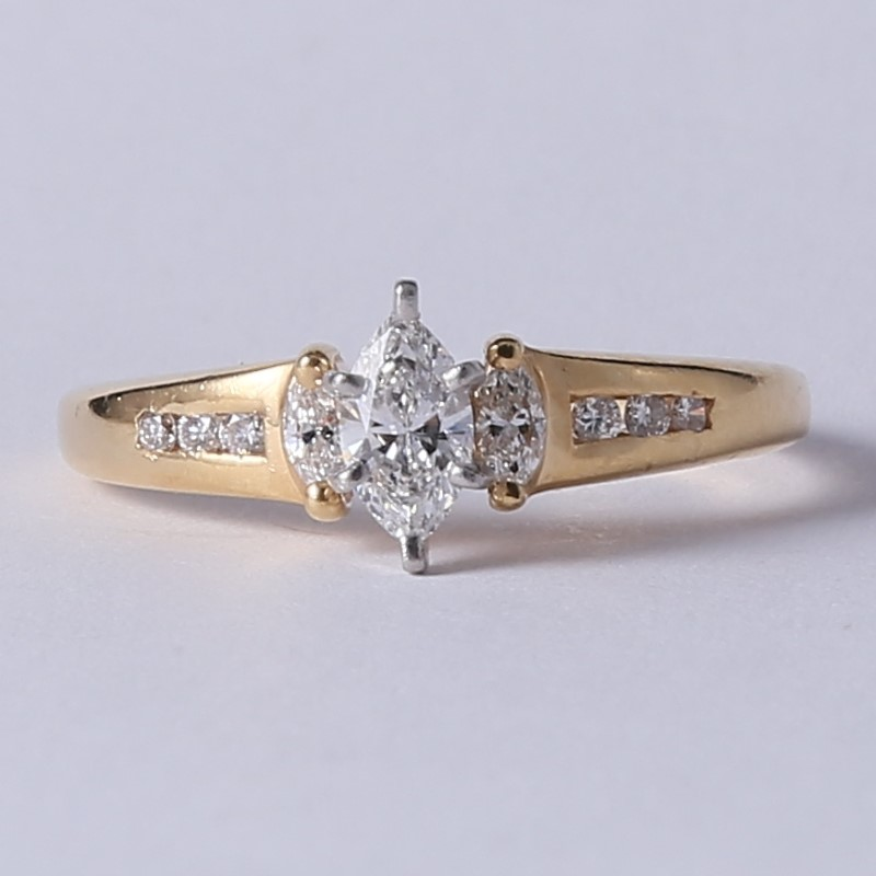 14K Y/G Marquise & Round Brilliant Diamond Engagement Ring Size 9