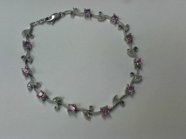 Pink Sapphire Gold-Diamond & Stone Bracelet 11 Diamonds .055 Carat T.W.