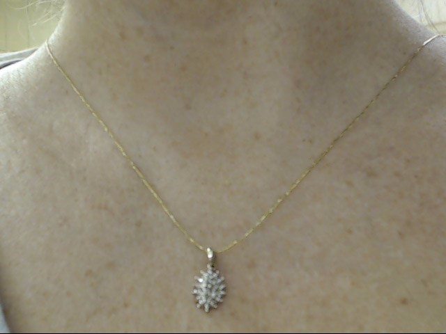 VINTAGE DIAMOND CLUSTER PENDANT SOLID REAL 10K GOLD MARQUISE STYLE