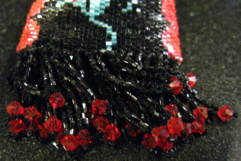 """HANDMADE MEDICINE BAG - TRINKET -  BLACK & RED, 3 BEADED ROSES WITH FRINGE 1.75"""""""