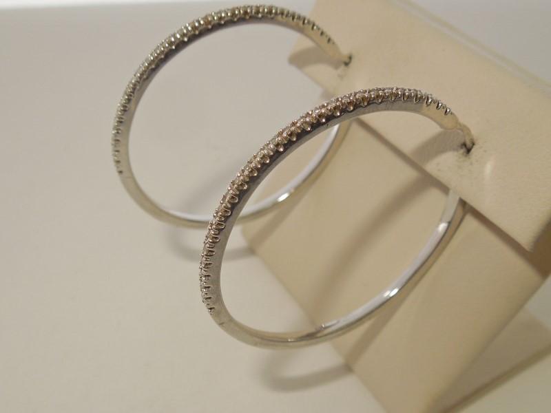 Silver-Diamond Earrings 54 Diamonds .270 Carat T.W. 925 Silver 8.8g