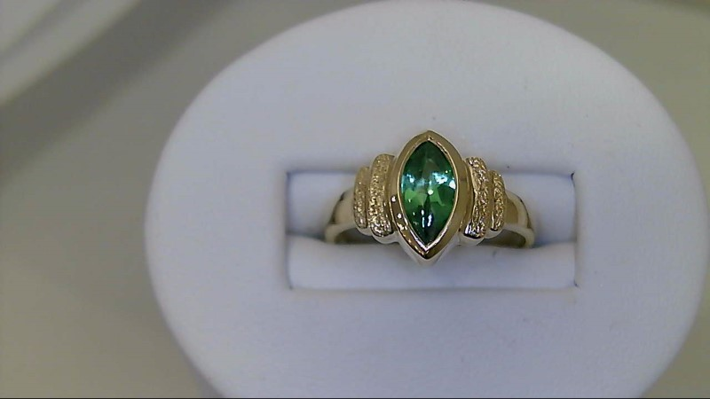 Lady's Marquise Emerald Ring 14K YG Yellow Gold
