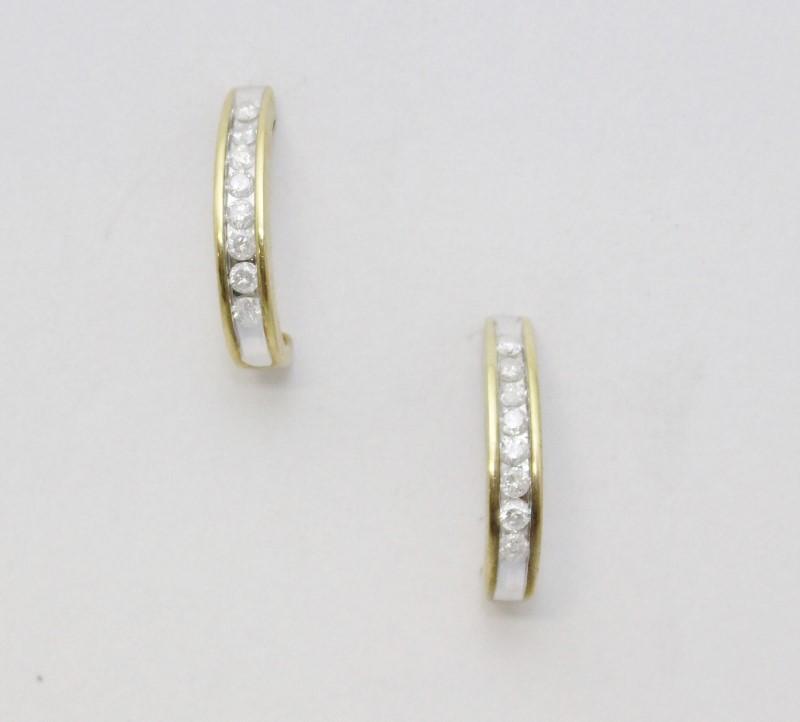 14K Yellow Gold Half Oval Hoop Diamond Drop Earrings