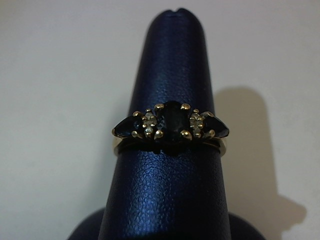 Blue Stone Lady's Stone & Diamond Ring 4 Diamonds .020 Carat T.W.